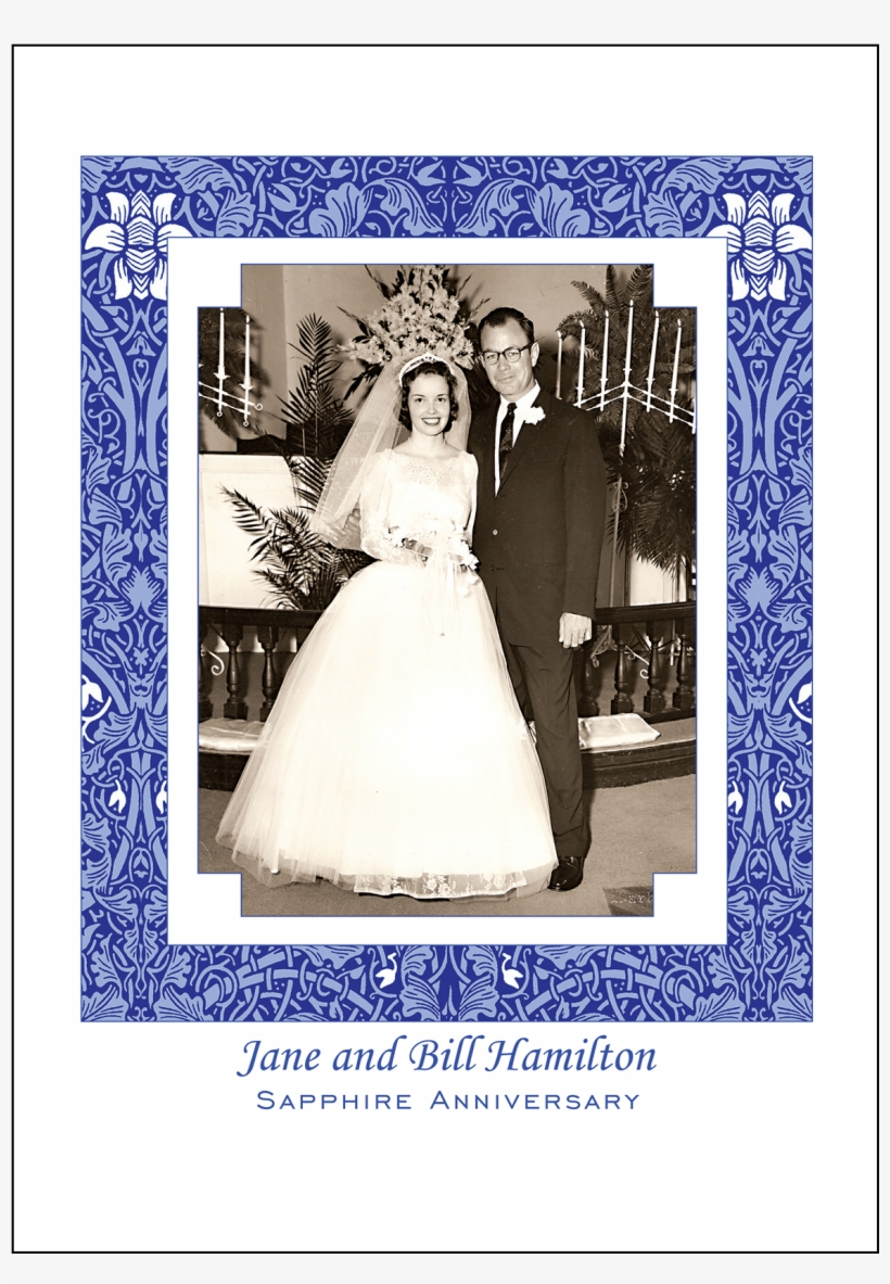 Cover Of 45th Sapphire Wedding Anniversary Party Invitation - 50th Wedding Anniversary Invitations, transparent png #8724167