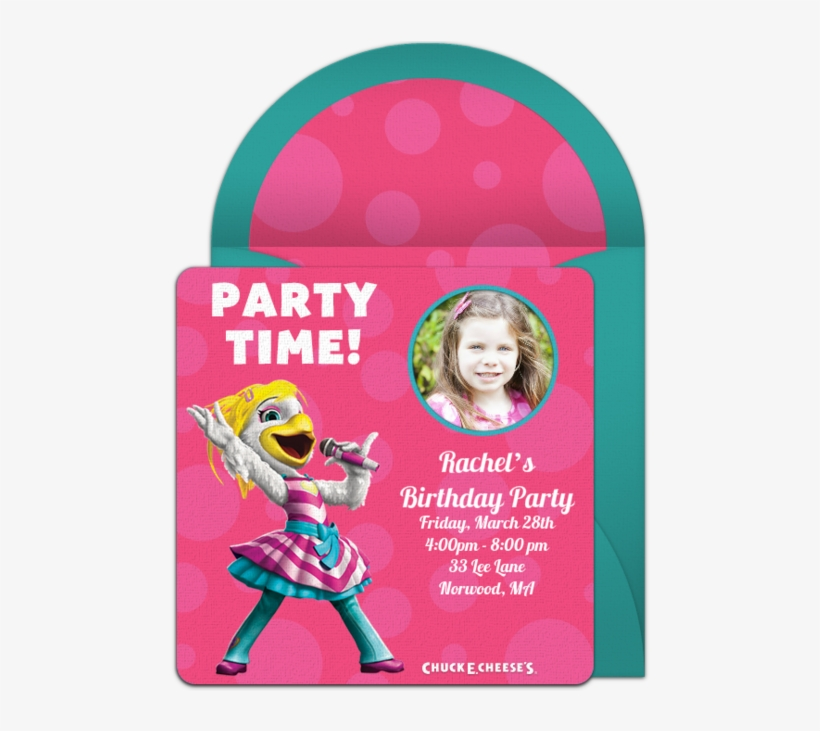 Customizable, Free Chuck E - Chuck E Cheese Invitations For Girls, transparent png #8724309
