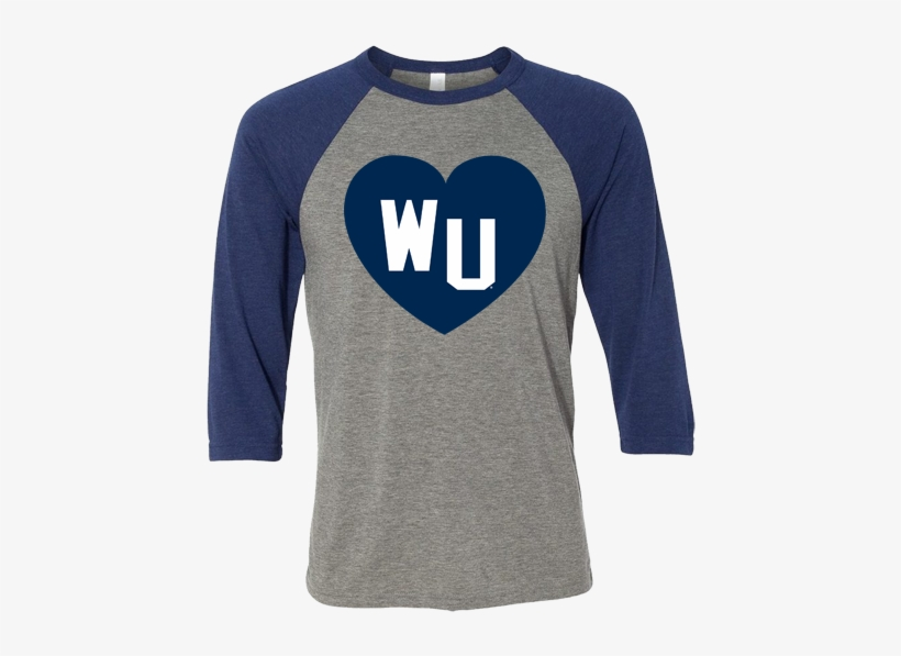 Washburn University Wu Heart Canvas Triblend Baseball - Long-sleeved T-shirt, transparent png #8731932