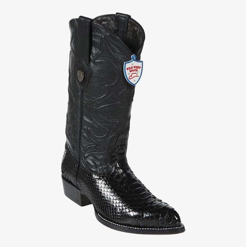 Wild West Python Mens Cowboy Boots J-toe Black Style - Cowboy Boot, transparent png #8742582