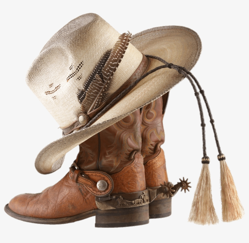 Cowboy Boots And Hat With Tassels - Cowboy Hat And Boots Png, transparent png #8743109