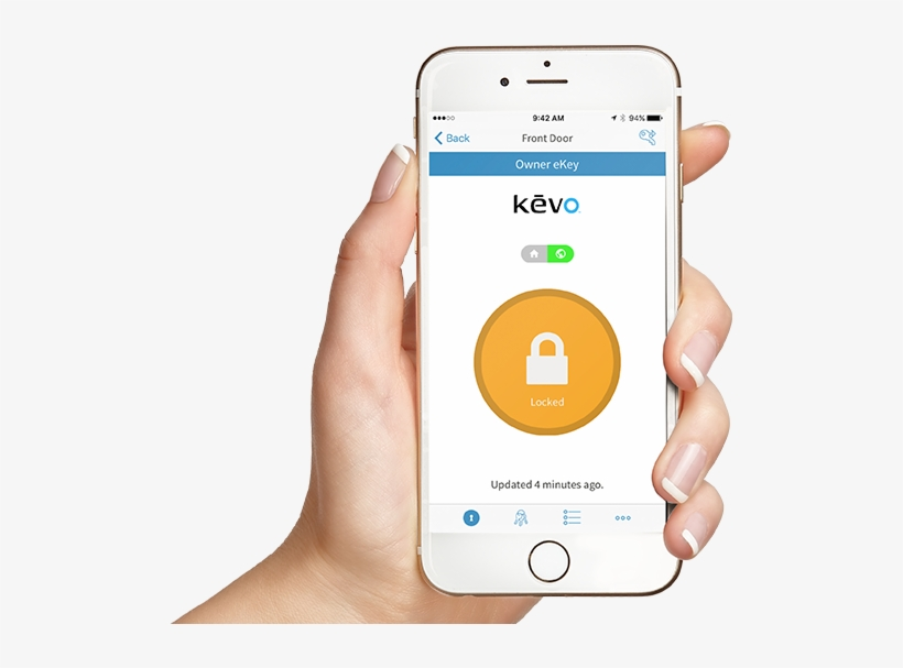Hand Holding Phone With Kevo App Showing Active Ekeys - Iphone, transparent png #8746467