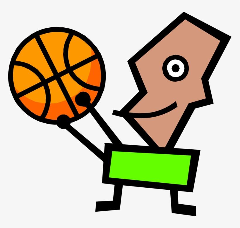 Vector Illustration Of Modern Art Kid Plays Basketball - Palla Da Basket Punto Croce, transparent png #8751292