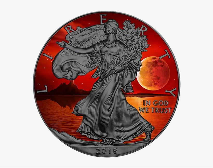 2018 Super Blue Blood Moon 1 Oz Fine Silver American - 1 Oz Silver American Eagle 2018, transparent png #8773837