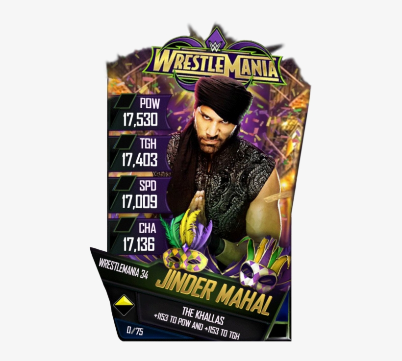 Jindermahal S4 19 Wrestlemania34 - Wrestlemania 34 Card Wwe Supercard, transparent png #8784709
