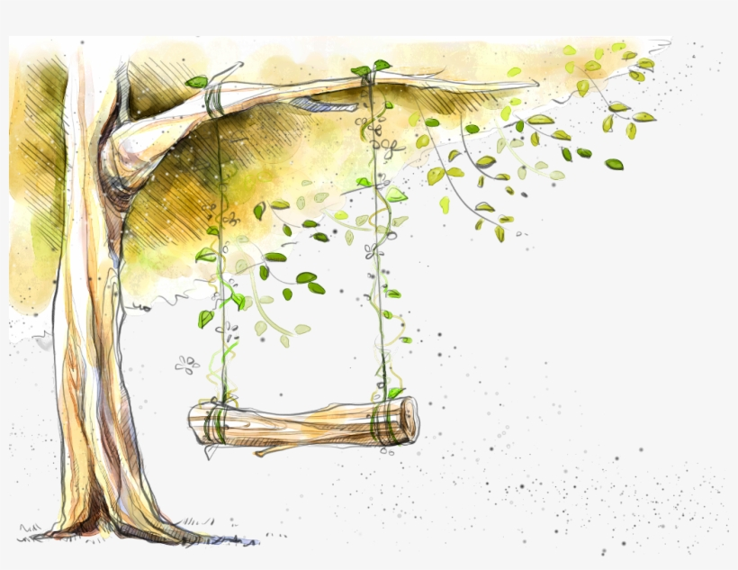 Report Abuse - Tree With Swing In Painting, transparent png #8789107