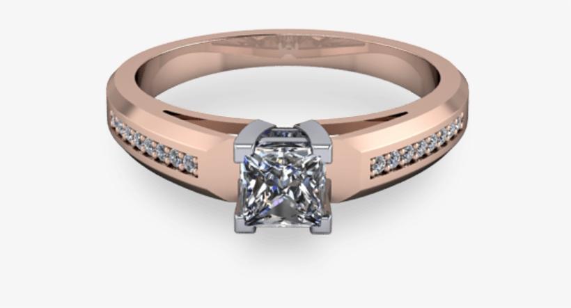 Chunky 14kt Rose Gold Princess Cut - Princess Cut Engagement Pearl Ring, transparent png #8792322