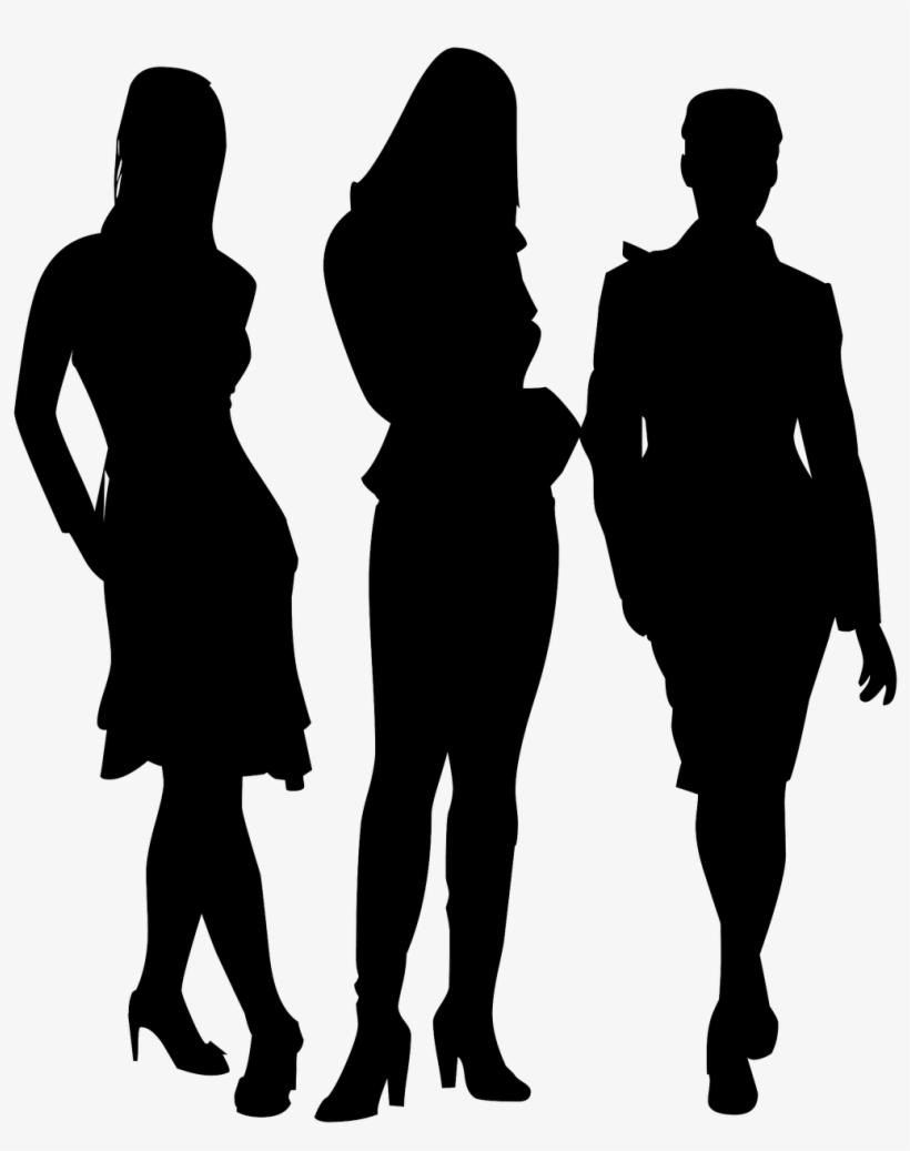 Team,ladies,business Silhouette, - Transparent Silhouette Of Group Of People Png, transparent png #8795094