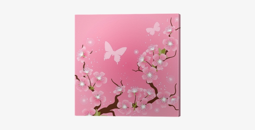 Card With Stylized Cherry Blossom Flowers - Cherry Blossom, transparent png #880780