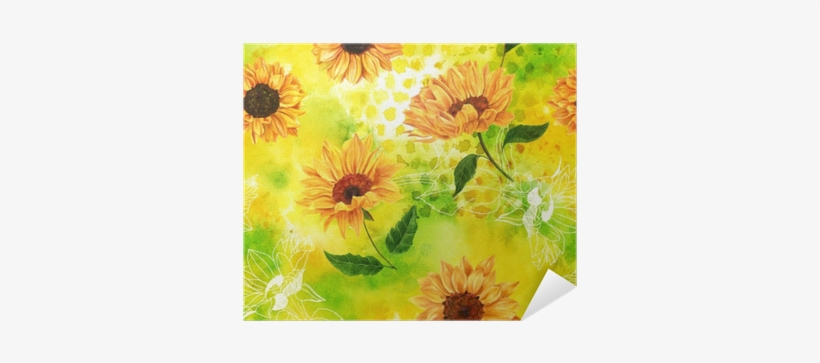 Seamless Pattern With Watercolor Sunflowers On Yellow-green - Watercolor Painting, transparent png #881279