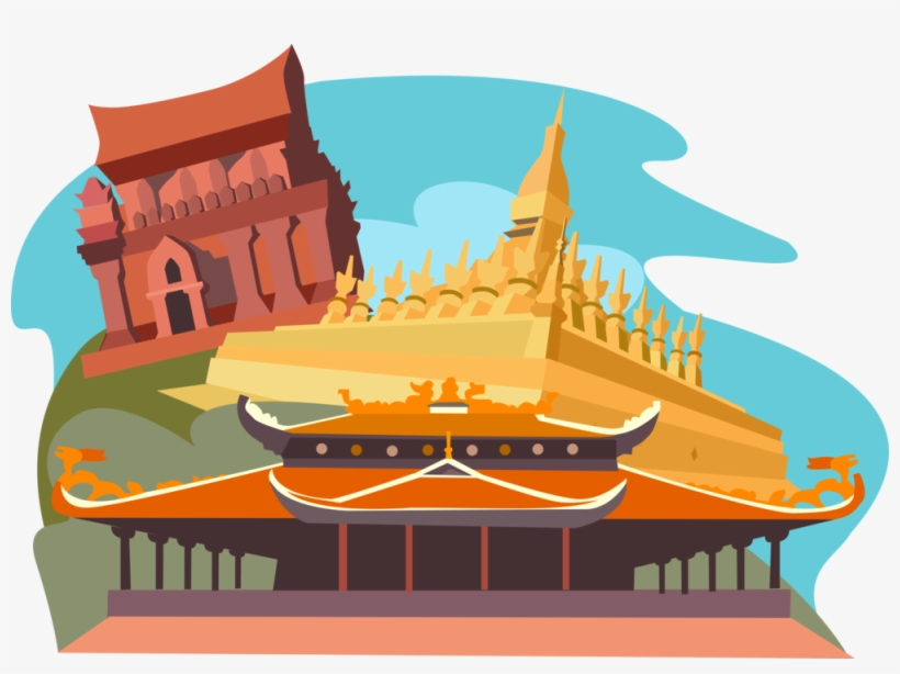 Vector Illustration Of Pha That Luang, Vientiane, Laos, - Temple Buddha Clipart Cute Cartoon, transparent png #888145