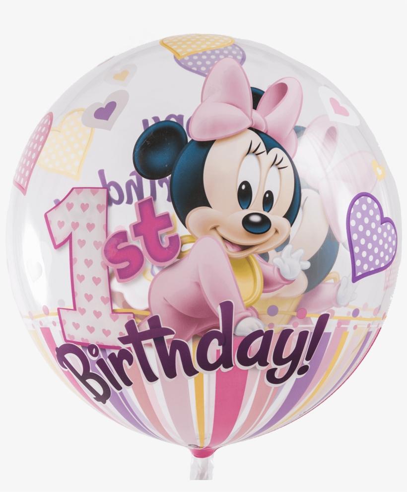 Disney Minnie Mouse 1st Birthday Bubble Balloon - Balloon, transparent png #8875104