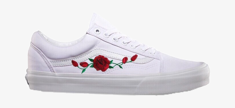 63be4259c6a0 Customized Rose Embroidered Vans - Vans Old Skool Shoes (true White) Men  White