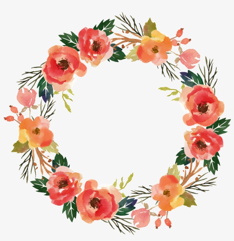 Big Flower Wreath Watercolor Transparent Decorative - Personalized Tote, Bridesmaid Gift, Wedding Favor,, transparent png #892465