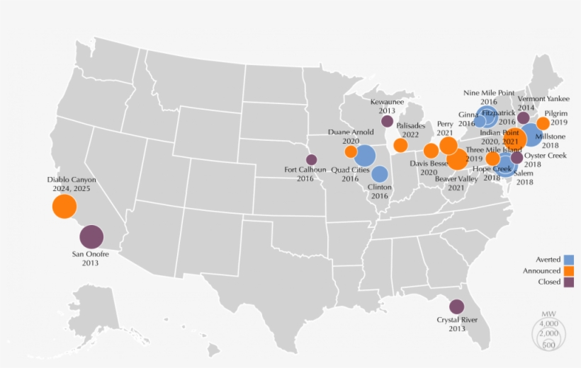 Location Of Nuclear Power Retirements - Us Map Major ...