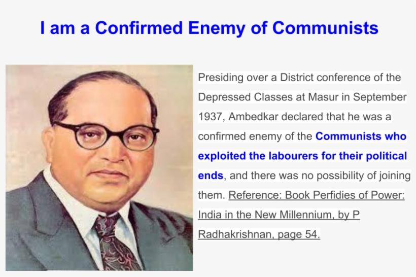 """i Am A Confirmed Enemy Of Communists"" Said - Dr Br Ambedkar, transparent png #8918435"