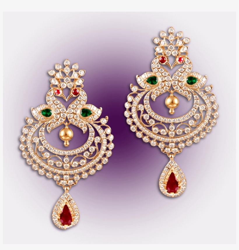 Regal Peacock Diamond Earrings - Gold Peacock Diamond Earrings, transparent png #8924820