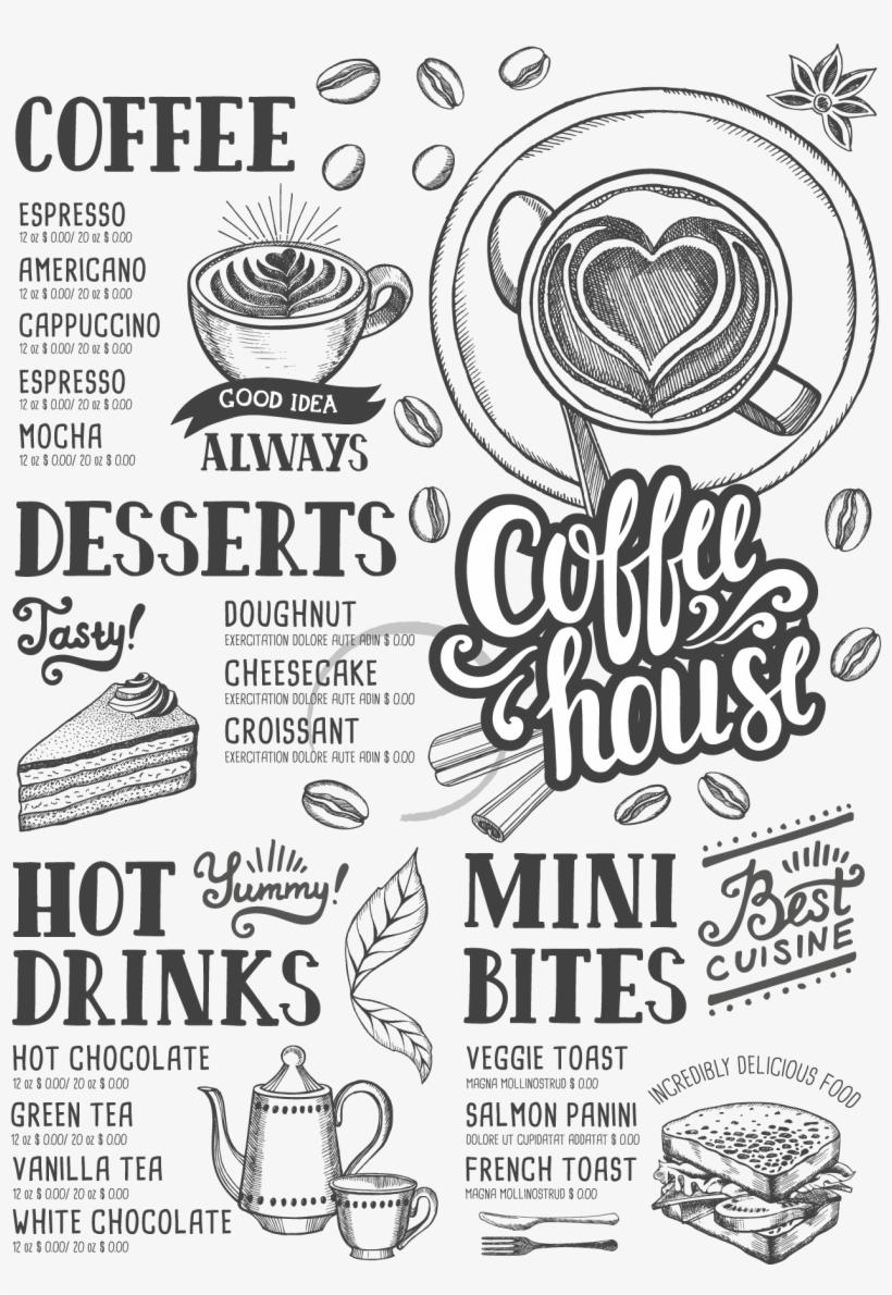 Jpg Black And White Coffee Tea Cafe Hamburger Shop - Menu Coffee Free Vector Download, transparent png #8931393