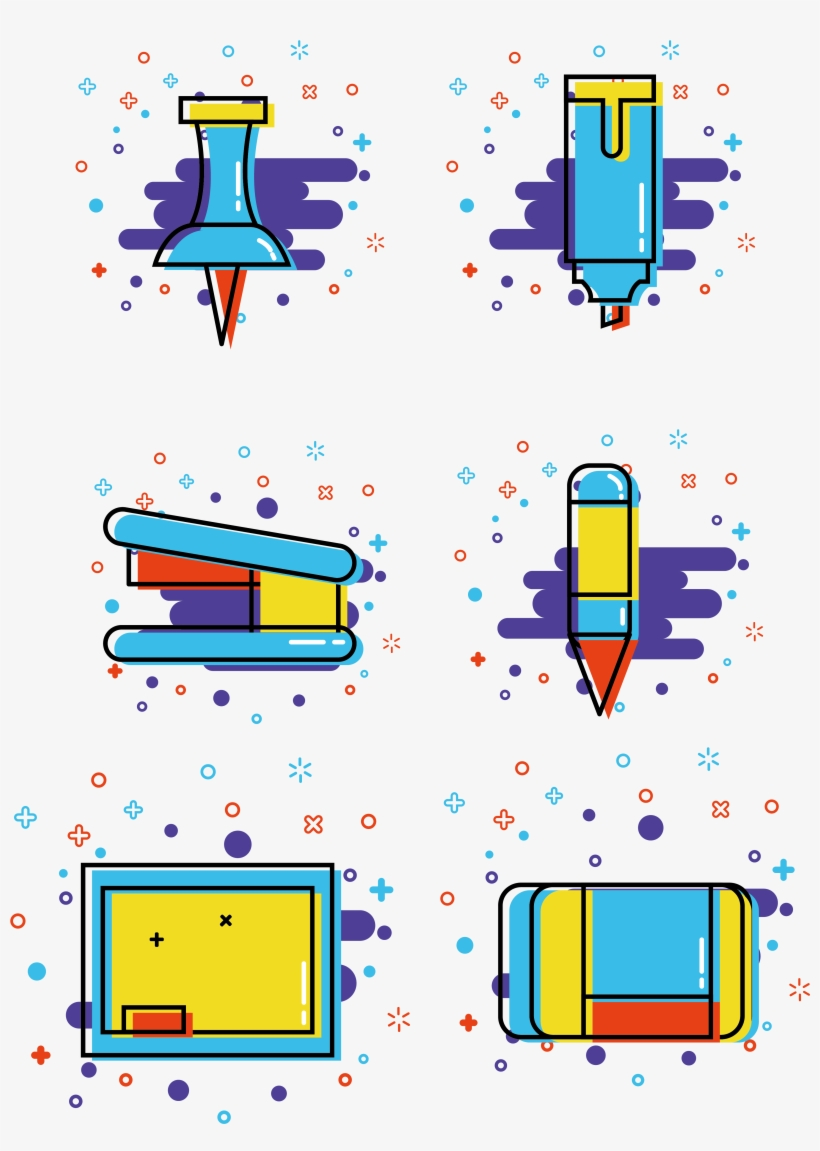 Mbe Style Student School Supplies Commercial Icon Elements - Graphic Design, transparent png #8951795