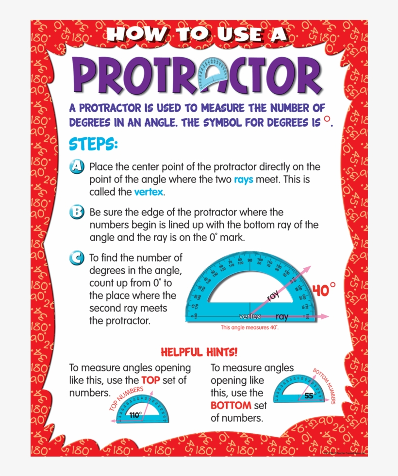 Tcr7730 How To Use A Protractor Chart Image - Protractor Chart How To Use Protractor, transparent png #8963019