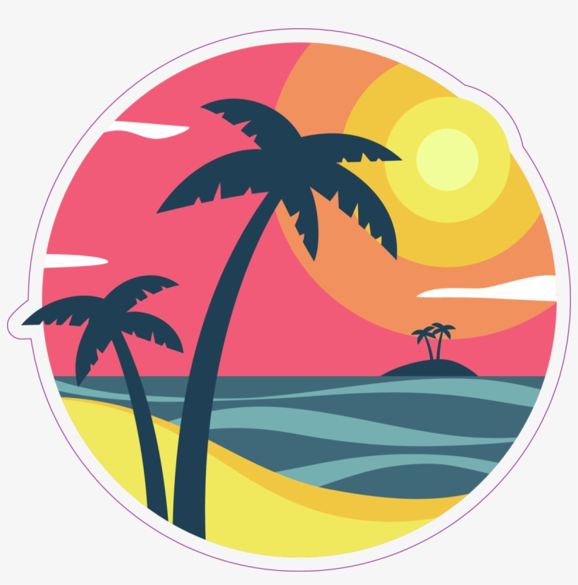Sunrise With Palm Trees On A Tropical Island Sticker - Palm Trees, transparent png #8990226