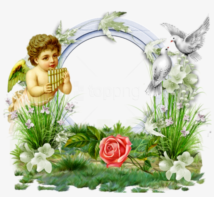 Free Png Transparent Photo Frame With Angel And Doves - Png Photo Frame Angel, transparent png #8998354