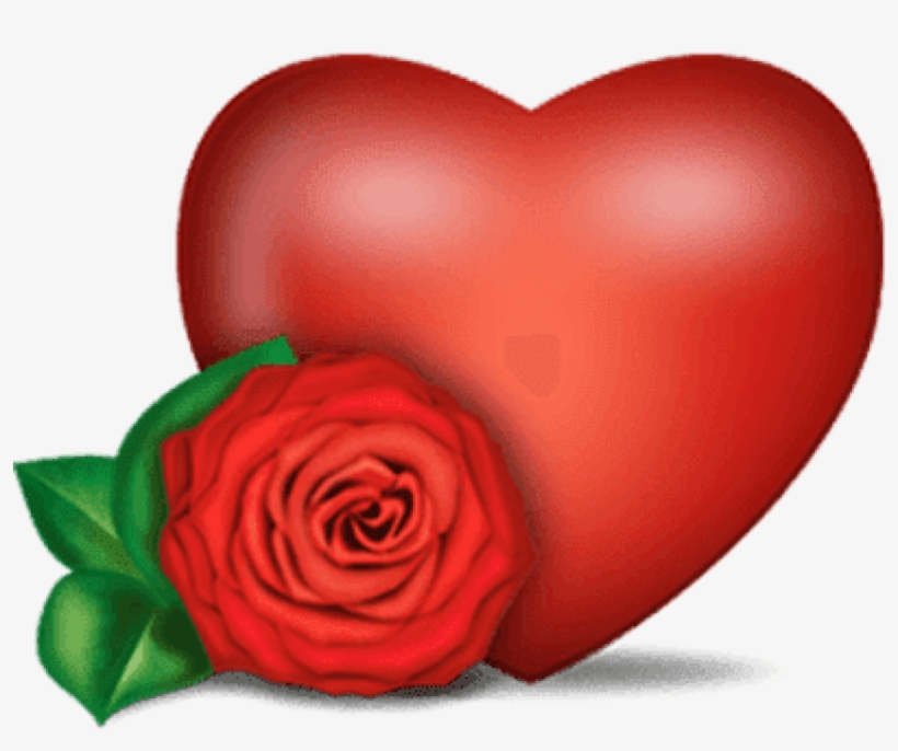Rose And Heart - Corazon Con Rosa Png, transparent png #90067