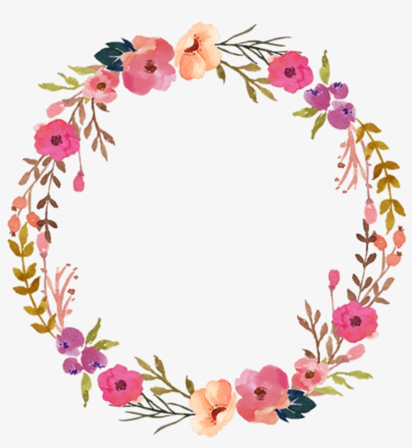 Ftestickers Watercolor Wreath Floral Colorful - Pink Flower Wreath Png, transparent png #90329