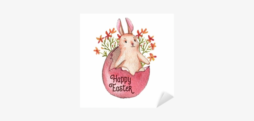 Hand-drawn Watercolor Easter Bunny, Colored Egg And - Easter, transparent png #90448
