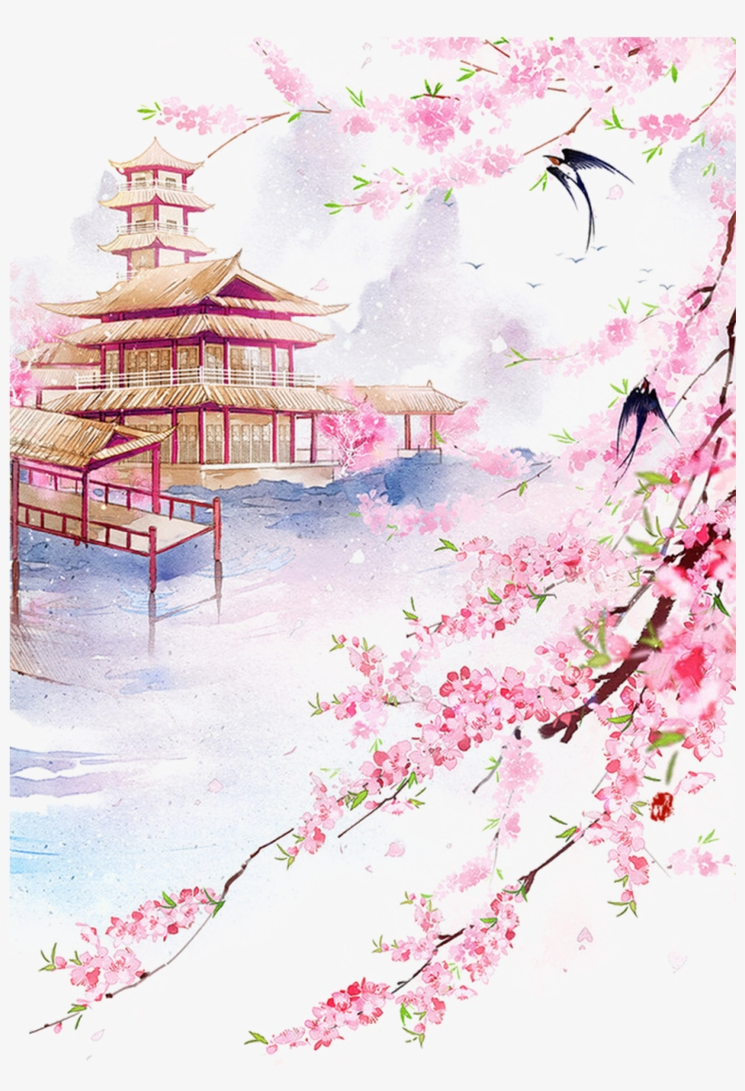 Drawing Chinese Watercolor - Cherry Blossom Bridge Landscape Drawings, transparent png #90731