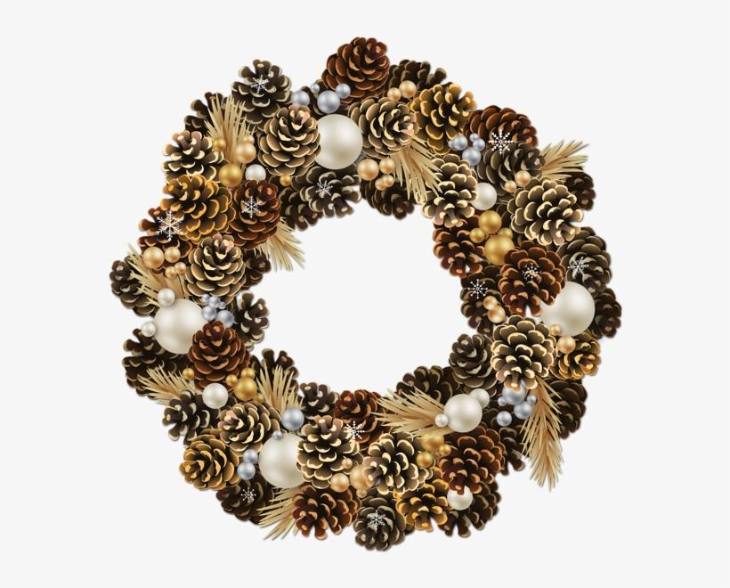Graphic Transparent Transparent Christmas Wreath With - Pine Cone Christmas Wreath Png, transparent png #92503