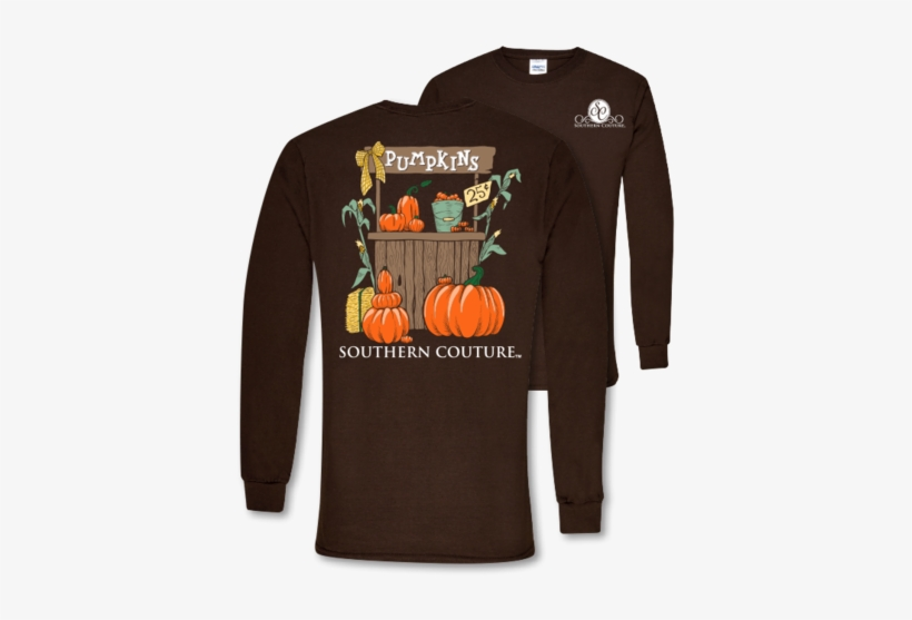 Southern Couture Preppy Pumpkin Stand Fall Long Sleeve - Preppy Fall T Shirts, transparent png #93284