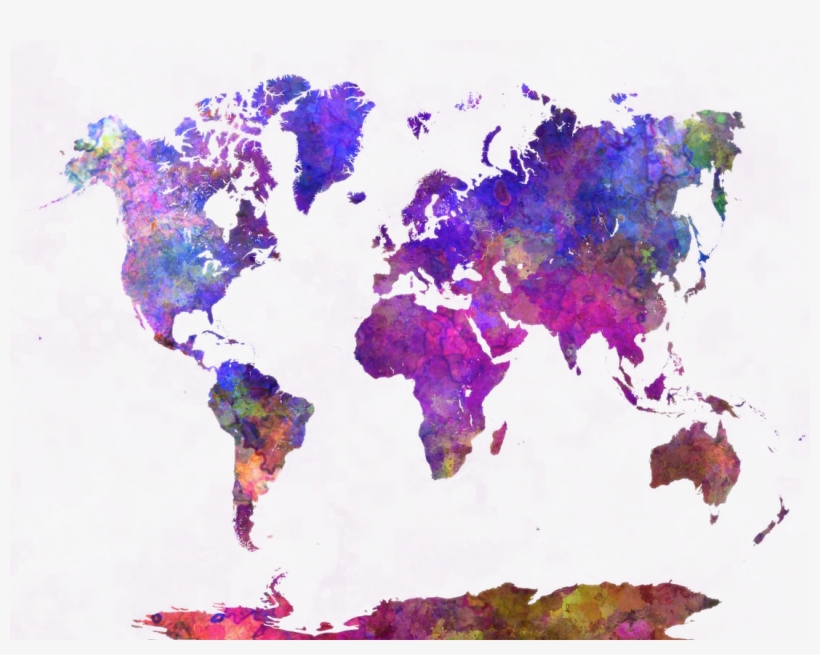 Graphic Library Map Wall Allposters Com Beautiful Allposterscom - Watercolor World Map Png, transparent png #93886