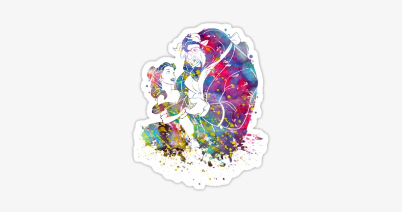 Beauty And The Beast Belle Disney Princess Watercolor - Beauty And The Beast Canvas Print - Small, transparent png #94068