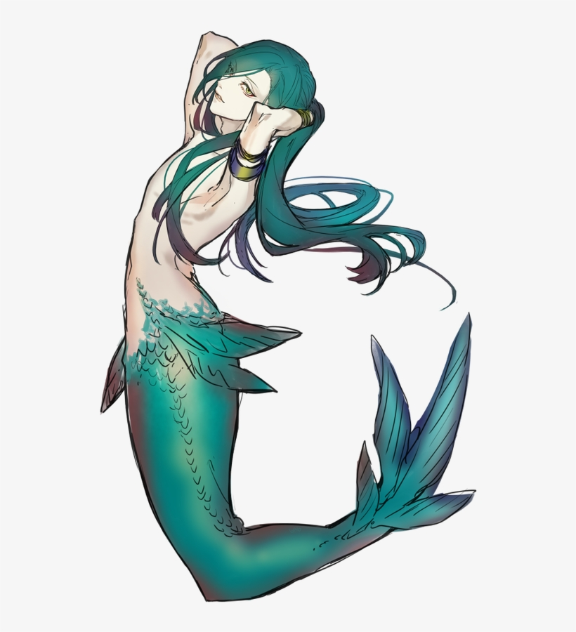 Image Result For Male Mermaids Anime - Mythical Creature Anime Mermaid Drawing, transparent png #95266