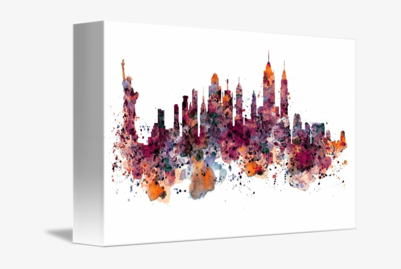 Svg Library Download New York Watercolor By Marian - New York Skyline Watercolor, transparent png #95349