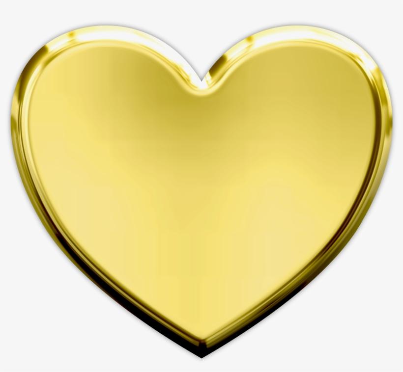 Gold Heart Transparent Background, transparent png #95631