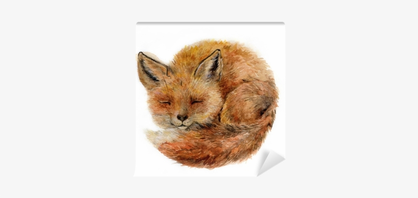 Watercolor Cute Sleepy Fox Isolated On White - Black Forest Decor Baby Fox Indoor/outdoor Pillow, transparent png #95939