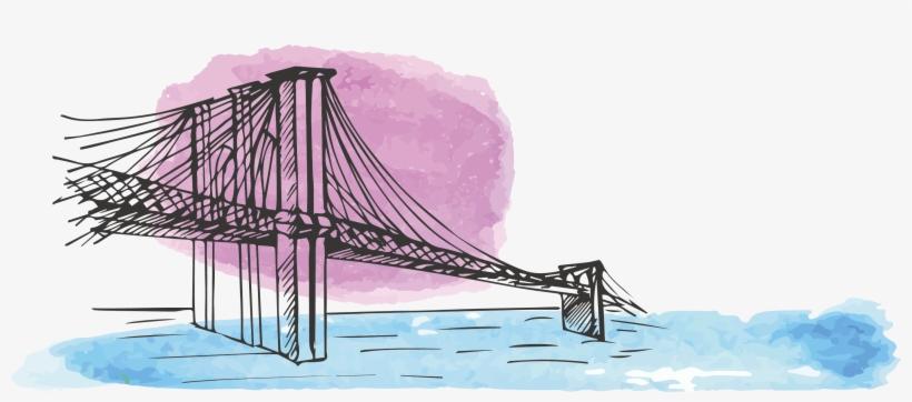 Brooklyn Watercolor Painting Drawing Bridge - Watercolor Painting, transparent png #97567