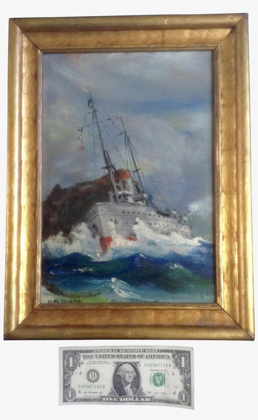 Earl Cochran, Marine Oil Painting, 1940's Wwii Us Navy - Navy Ships Oil Painting, transparent png #98490