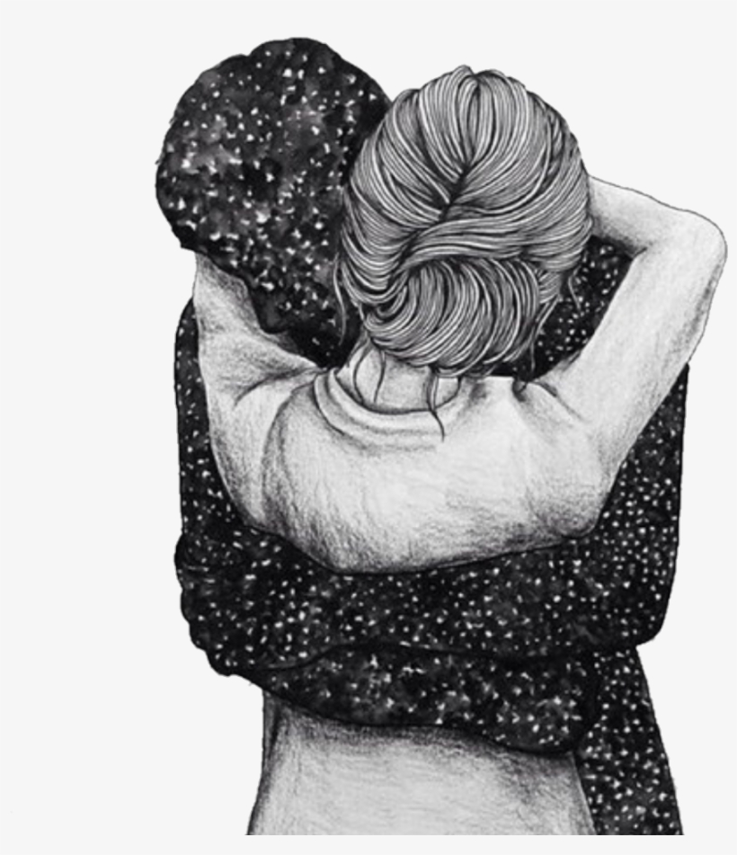 Blackandwhite You Love Hug Draw Tumblr Hug Drawing Free