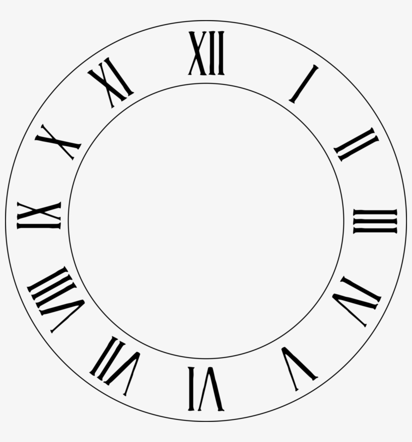 Facebook Clipart Black Ring - Roman Numeral Clock Face Png ...