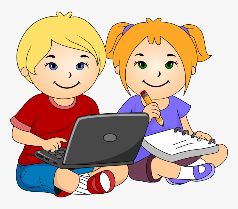 Laptop Clipart For Kids - Girl And Boy Writing Clipart, transparent png #905713