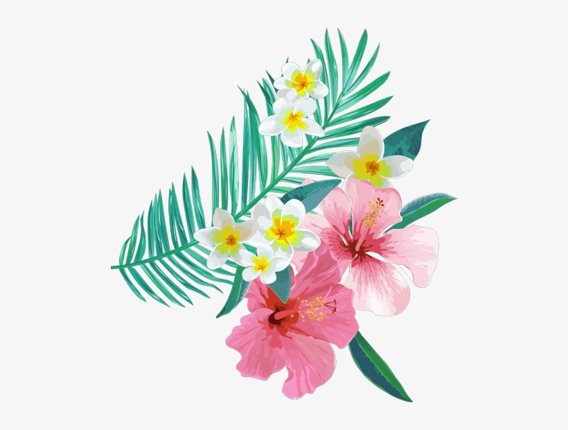 Tropical Leaves Flowers Plants Ftestickers - Tropical Leaves And Flowers Png, transparent png #906892