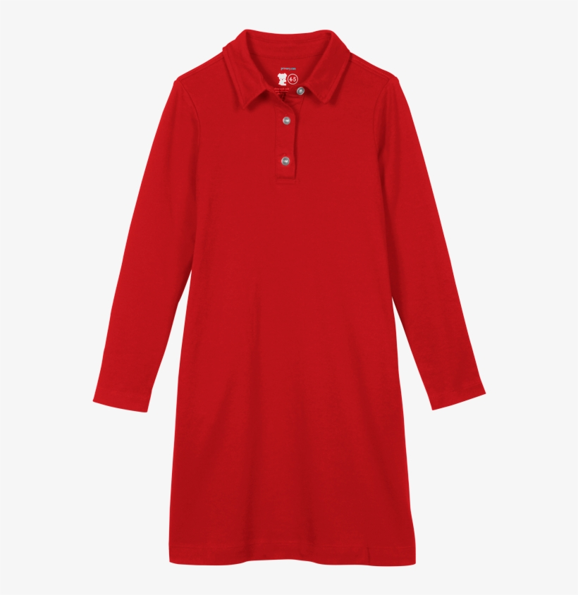 Child Wearing The Long Sleeve Polo Dress In Kids Size - Dress, transparent png #907066