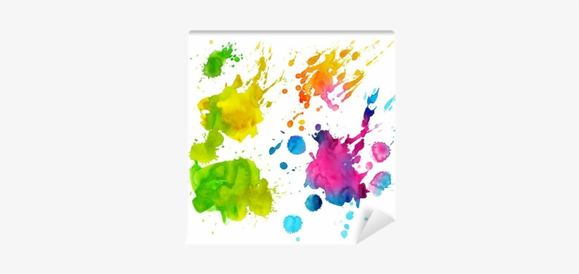 Set Of Watercolor Colorful Drops And Spray On A White - Watercolor Painting, transparent png #907372