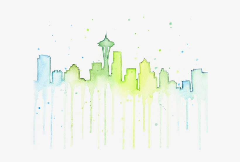 Skyline Watercolor By Olga Shvartsur - Watercolor Seattle Skyline Painting, transparent png #909208