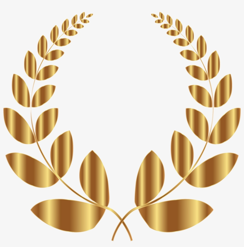 Gold Laurel Wreath 5 No Background Icons Png - Laurel Wreath Black Png, transparent png #909324
