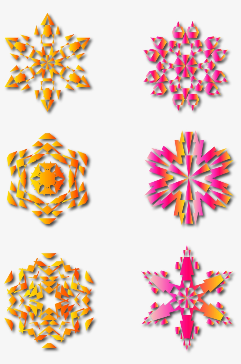 Red Pink Gradient Snowflake Shadow Png And Vector Image - Single Flower Clip Art Flower Silhouette, transparent png #9013786
