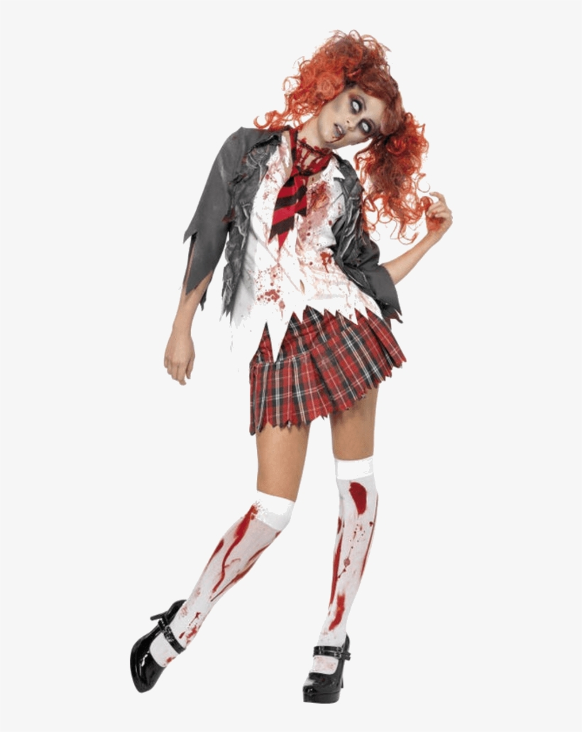 High School Horror Zombie Schoolgirl Costume - Old School Girl Costume, transparent png #9046721